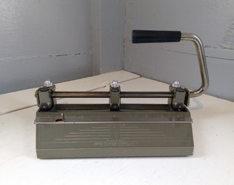 Vintage Lever 3 Hole Punch Boston Heavy Duty Industrial Office Paper Crafting Tool Office Equipment Metal RhymeswithDaughter