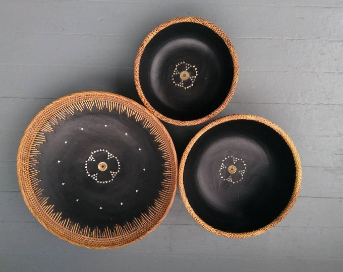 Featured listing image: Large Carved Wood Bowls Gorgeous Set of 3 with Mother of Pearl Inlay Braided Wicker Rims Chinese Coin Center Photo Prop RhymeswithDaughter