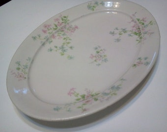 Haviland Antique Serving Platter Oval China Floral Country Farmhouse Kitchen Decor Dining Room Decor Photo Prop RhymeswithDaughter