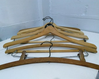 Vintage Collection of Wood Hangers Clothes Hangers Pant Hangers Lot of 6 Closet Accessory Photo Prop RhymeswithDaughter
