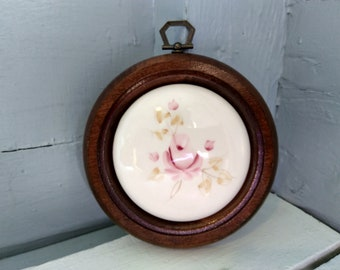 Wall Decor Framed Round Rose Tile Vintage Wall Hanging Farmhouse Country Decor Bedroom Decor Made by Lasting Products RhymeswithDaughter