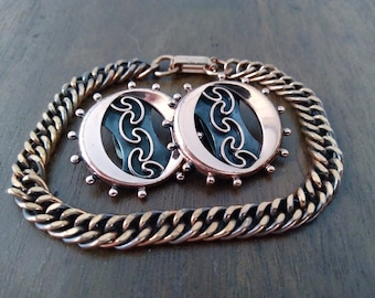 Vintage Renoir Earrings and Bracelet Clip on Earring Chain Bracelet Round Earrings Photo Prop RhymeswithDaughter