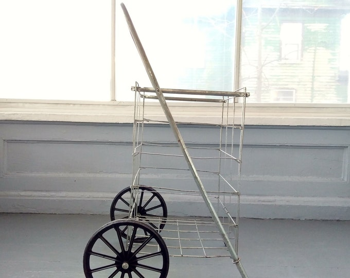 Featured listing image: Vintage Shopping Cart Folding Wire Metal Pull Cart Grocery Cart Basket Cart Farmers Market Cart Two Wheel Cart RhymeswithDaughter