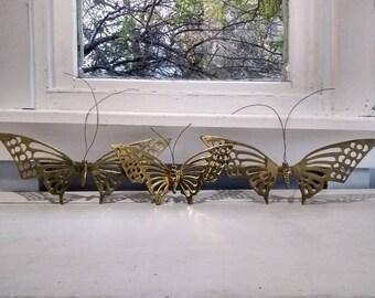 Butterflies, Solid Brass, Wall Art, Butterfly, Wall Hanging, Wall Decor, Nursery Decor, Mid Century Modern, Photo Prop,  RhymeswithDaughter