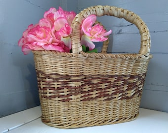 Large Wicker Market Basket Gathering Basket Purse Beach Picnic Country Farmhouse Rustic Home Decor RhymeswithDaughter