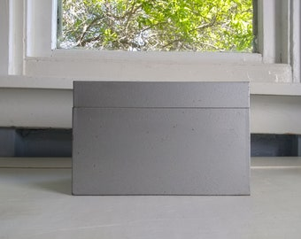 Vintage Metal 5 x 8 Index Card File Box Recipe Box Industrial Office Gray RhymeswithDaughter
