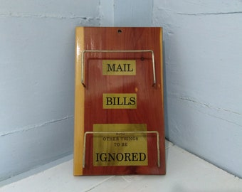 Vintage Mid Century Modern Hanging Mail Holder, Wall Hanging, Wood, Photo Prop, RhymeswithDaughter