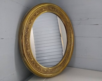 Vintage Accent Mirror Wall Mirror Oval Brass Color MidCentury Photo Prop RhymeswithDaughter