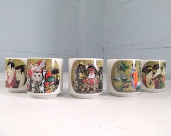 Vintage, Japanese, Sake, Gift, Set, Ceramic, Cups, Barware, Shot Glasses, Photo Prop, RhymeswithDaughter