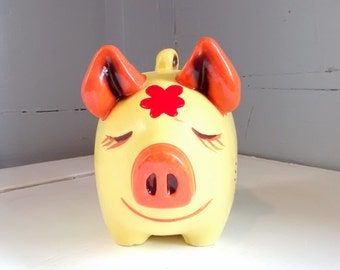 Vintage Piggy Bank Coin Bank Kids Bank Clay Bank Folk Art Floral Collectable Photo Prop Kids Room Decor Nursery Decor RhymeswithDaughter