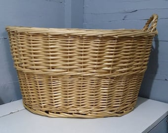 Vintage Wicker Laundry Basket Large Oval Clothes Hamper Decorative Display Rustic Farmhouse Country Home Photo Prop Decor RhymeswithDaughter