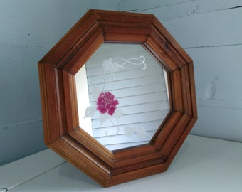 Beautiful Vintage Mirror Octagon Shaped Wood Framed Etched Rose Wall Hallway Decorative Photo Prop RhymeswithDaughter