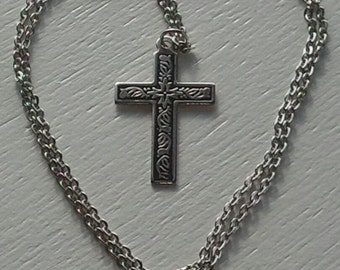 Necklace Cross Pendant Vintage Metal Silver Tone Kids Jewelry Religious Jewelry Christianity Gift Idea Photo Prop RhymeswithDaughter