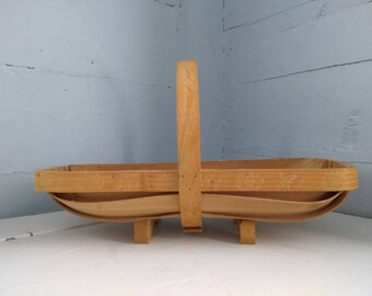 Small Vintage Wood Basket Long Rectangular Farmhouse Country Kitchen Home Decor RhymeswithDaughter