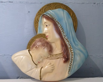 60s Mary and Baby Jesus Chalkware Wall Hanging Vintage MidCentury Wall Art Religious Art Christian Gift Idea Photo Prop RhymeswithDaughter