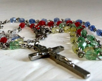 Catholic Rosary Vintage Kids  Rosary Teen Rosary Yellow Red Blue Clear Religious Beads Prayer Beads Photo Prop RhymeswithDaughter