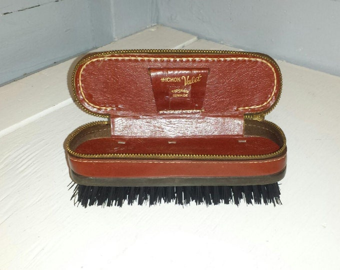 Featured listing image: Shoe Shine Brush Vintage Travel Case Zippered Shoe Polish Storage Compartment Hickok Valet Photo Prop Gift Idea RhymeswithDaughter