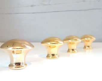 Vintage Brass Knobs Round Mushroom Shaped Furniture Hardware Cabinet Pull Round Lot of Four RhymeswithDaughter