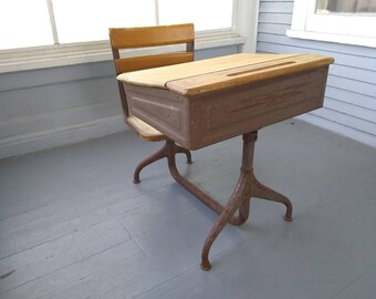 Antique School Desk Kids Desk and Chair Metal and Wood Homework Desk American Seating Co Desk Furniture Photo Prop RhymeswithDaughter