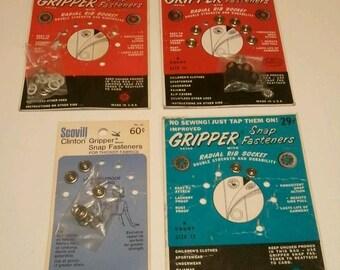 Vintage Metal Snap Fasteners Gripper Original Cards Sewing Advertising Ephemera RhymeswithDaughter