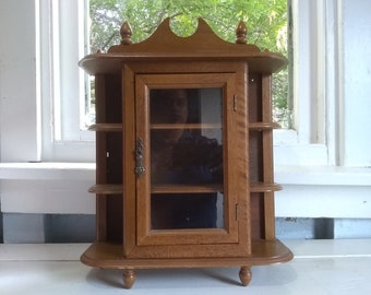 Curio Cabinet, Display Cabinet, Glass Door, Wall Mount, Table Top, Shelves, Small, Wood, Vintage, RhymeswithDaughter