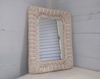 Vintage, Wall, Mirror, Rectangular, Wicker Framed, White, Entrance Mirror, Bathroom Mirror, Boho, Rustic, Photo Prop,  RhymeswithDaughter