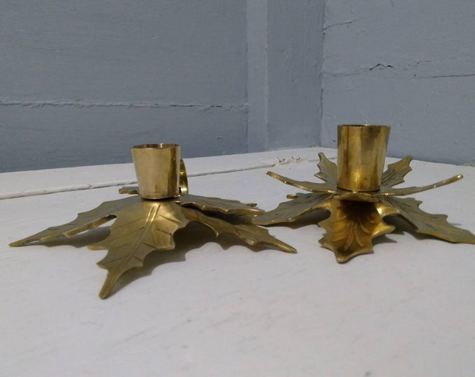 Featured listing image: Vintage Leaf Chamber Candlestick Holders Chamberstick Candle Holders Brass Portable Finger Loop Emergecy Candle Holder RhymeswithDaughter