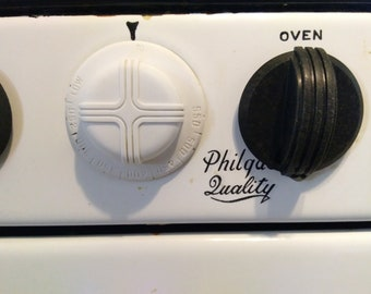 Vintage Kitchen Stove Gas Oinca Speed Burners Oven Broiler Metal Porcelain White Black Philgas Quality Photo Prop RhymeswithDaughter
