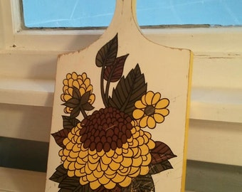 Vintage, Cutting Board, Kitchen Decor, Country, Farmhouse, Kitchen Decor, Floral, Sun Flower, Wood, RhymeswithDaughter