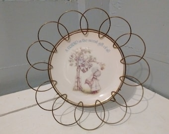 70s Retro Lasting Memories Plate Friends Decorative Porcelain Plate with Metal Plate Stand Gift Idea RhymeswithDaughter