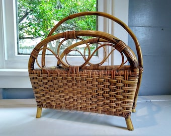 Magazine Rack Newspaper Stand 70s Boho Bamboo Wicker Footed Book Holder Livingroo Office  Bathroom Home Decor Photo Prop  RhymeswithDaughter