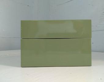 Vintage Metal 3x5 Index Card File Box Recipe Box Kitchen Decor Office Mid Century Light Green RhymeswithDaughter