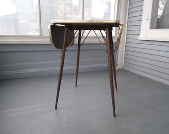 Small, Table, Kitchen, Drop Leaf, Stylish, Retro, MidCentury Modern, Metal, Formica, Furniture, Photo Prop, RhymeswithDaughter
