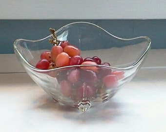 Candy Dish Nut Dish Mint Bowl Glass Vintage  Footed Decorative Bowl Mid Century Photo Prop  RhymeswithDaughter