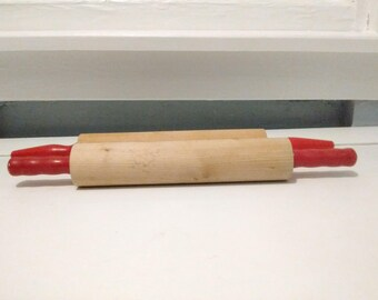 Rolling Pins Wood Two Vintage Red Handle Baking Prep Kitchen  Decor Photo Prop RhymeswithDaughter