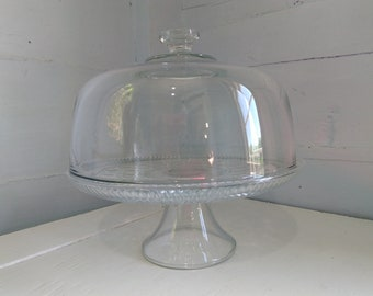 80s Heavy Glass Cake Stand with Dome Lid Dual Punch Bowl Set Upside Down Snowflake Pattern Bottom Flat Knob Lid Handle RhymeswithDaughter