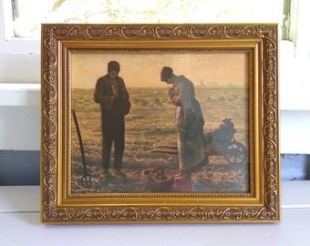 Vintage Angelus Print Framed Religious Art Photo Prop RhymeswithDaughter