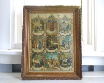 Antique, Art, Wall, Framed, Religious,  Christianity, Home Decor, Gift Idea, Collectable,  RhymeswithDaughter