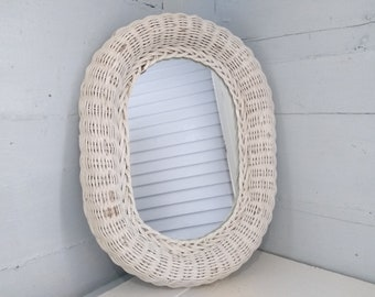 Vintage, Wall Mirror, Oval Mirror, Wicker Framed Mirror,  White Mirror, Entrance Mirror, Bathroom Mirror, RhymeswithDaughter