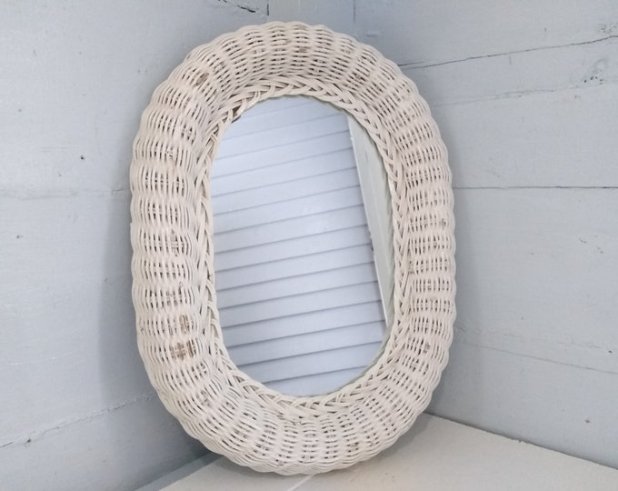 Featured listing image: Vintage, Wall Mirror, Oval Mirror, Wicker Framed Mirror,  White Mirror, Entrance Mirror, Bathroom Mirror, RhymeswithDaughter