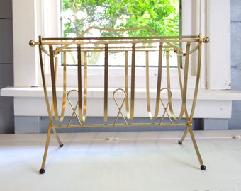 Vintage MidCentury Modern Magazine Rack Standing Metal Footed Swinging Basket Design Brass Color Living Room Decor RhymeswithDaughter