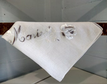 Handkerchief Womens Embroidered Marie Vintage Square White Gray Silver Floral Cotton Farmhouse Country Decor Photo Prop RhymeswithDaughter