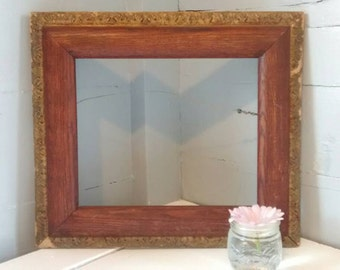 Picture Frame Hanging Antique Wood and Gilt Rectangle Rustic Wedding Photo Frame Home Decor RhymeswithDaughter