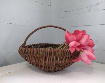 Vintage, Decorative, Basket, Twig Basket, Home Decor, Rustic, Country, Farmhouse, Storage, Photo Prop, RhymeswithDaughter