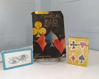 Card Game Rule Book Hoyle 1937 Official Rules 50th Anniversary Publishers 35th Edition and Two Old Unopened Card Decks RhymeswithDaughter