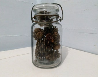 Vintage LIQUID Canning Jar Quart Size with Glass Lid and  Wire Bail Closure Kitchen Decor Storage Photo Prop RhymeswithDaughter