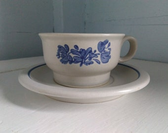 Cup and Saucer Pflatzgraff Yorktowne Vintage Country Chic Farmhouse Blue Dishes Vintage Dishes Photo Prop RhymeswithDaughter