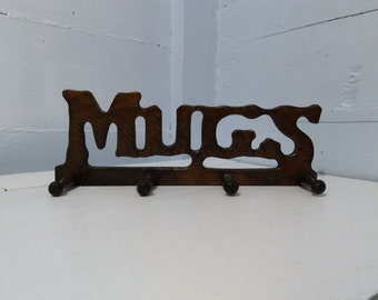 Vintage Hanging Wood Mug Rack 70s Retro Kitchen Decor Photo Prop  RhymeswithDaughter