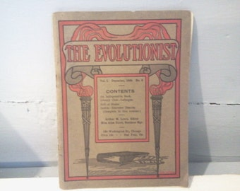 The Evolutionist Vol 1 December Circa 1909 No. 6 Arthur M. Lewis Antique Book Pamphlet Literature RhymeswithDaughter
