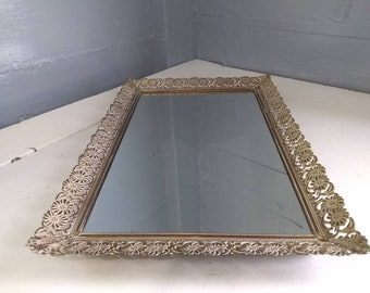 Vintage, Mirror, Vanity, Tray, Perfume Tray, Metal, Decorative, Rectangular Copper/White, MidCentury, Hollywood Regency, RhymeswithDaughter